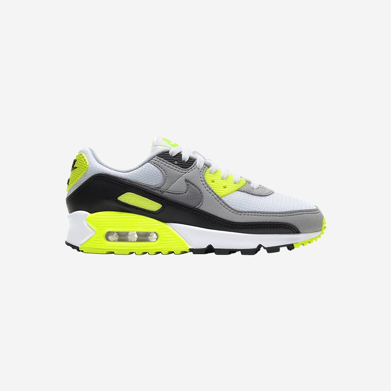 Shop the Women's Nike Air Max 90 in White/Particle Grey/Volt