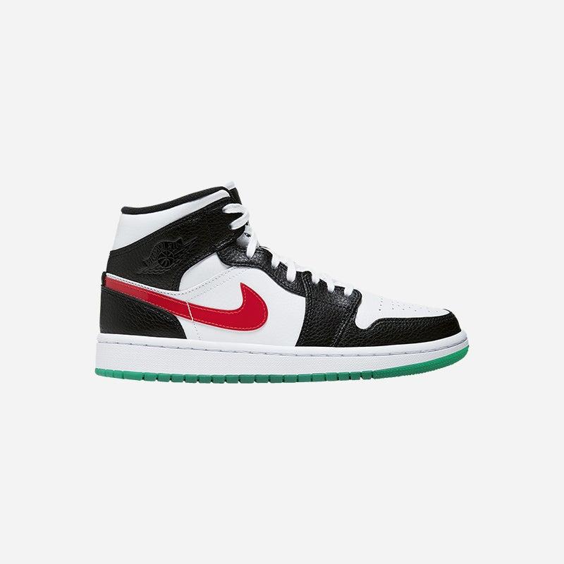 Shop the Women's Jordan AJ 1 Mid in Black/University Red/White