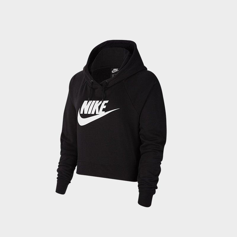 Shop the Women's Nike Essential Crop Hoodie in black/white.