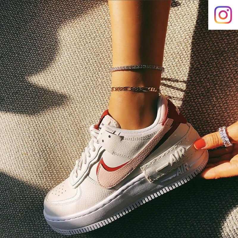 Shop Women's Nike Air Force 1 Shadow in Phantom/Echo Pink/Red.