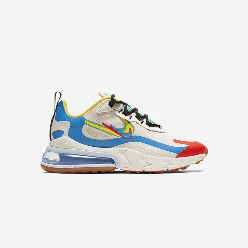 Shop the Women's Nike Air Max 270 React in Pale Ivory/Menta/Chrome Yellow .