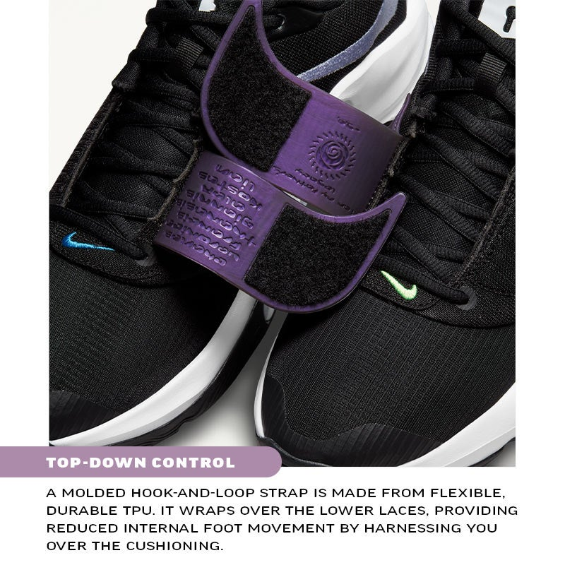 EURO STEP STABILITY An external piece of lightweight, durable TPU is built into the outer-side midsole. It helps keep your foot stable over the footbed when making quick side-to-side directional changes like the Euro step.