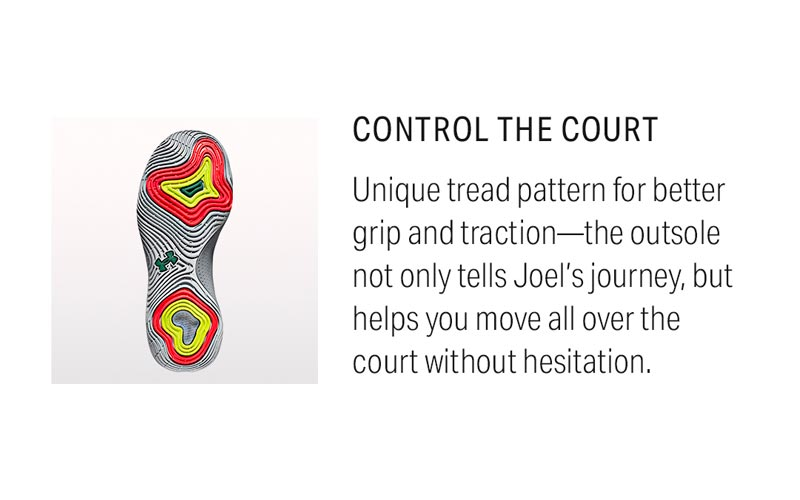 Control The Court: Unique tread pattern for better grip and traction- the outsole not only tells Joel's journey, but helps you move all over the court without hesitation.