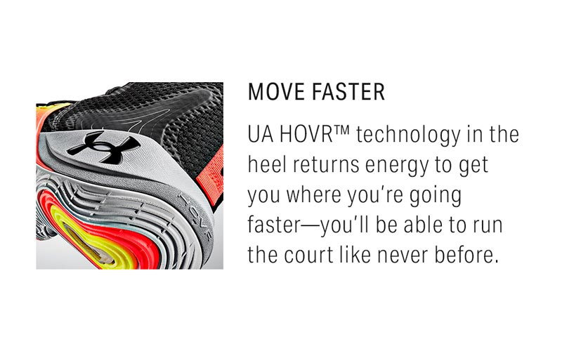 Move Faster: UA HOVR technology in the heel returns energy to get you where you're going faster - you'll be able to run the court like never before.