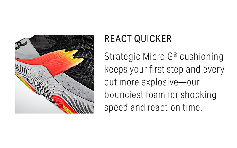 React Quicker: Strategic Micro G cushioning keeps your first step and every cut more explosive - our bounciest foam for shocking speed and reaction time.