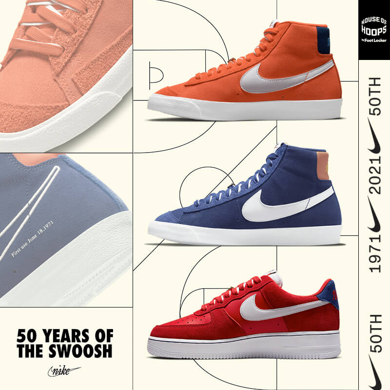 Celebrate 50 years of the ever-iconic Nike swoosh with all-new styles.