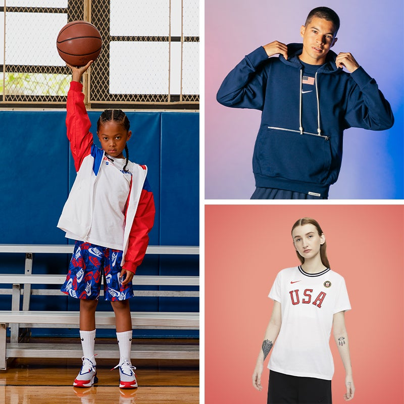 Show up and show out during the summer games in red, white & blue styles.