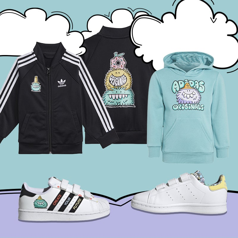Highlight your kid's individual style with adidas & Brooklyn designer/illustrator Kevin Lyons.