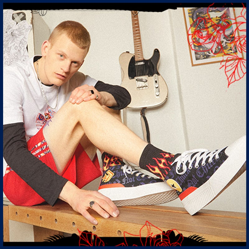 Converse sneakers for him + flame socks