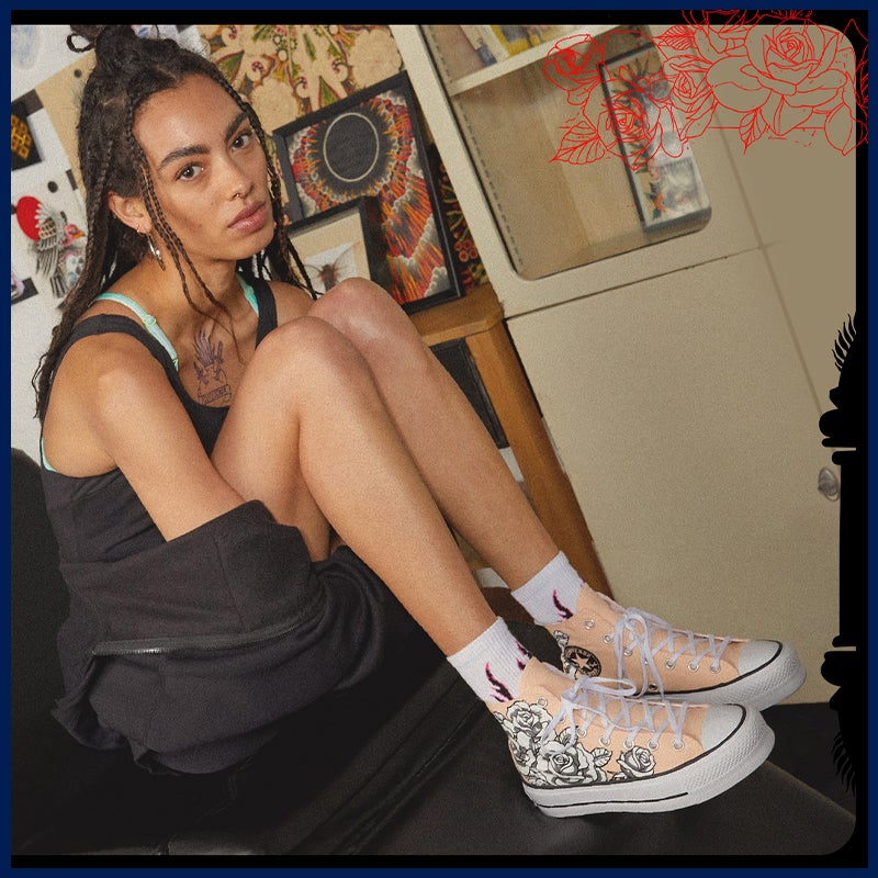 Converse sneakers for her + flame socks