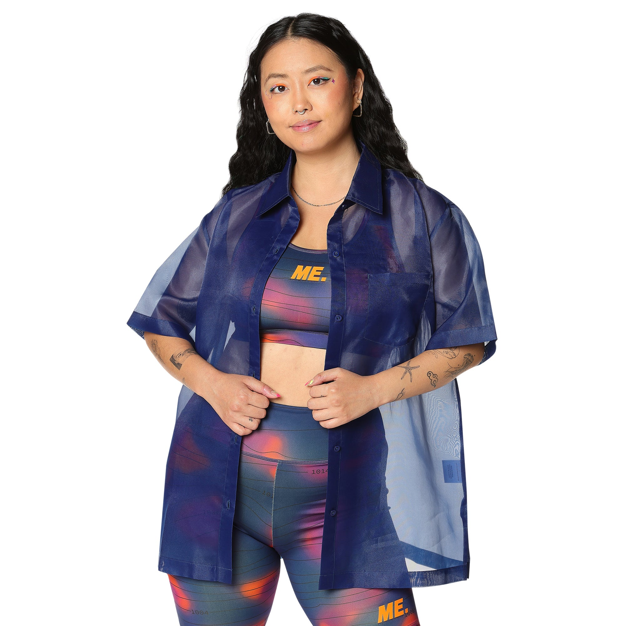 Melody Ehsani Organza Short Sleeve Top