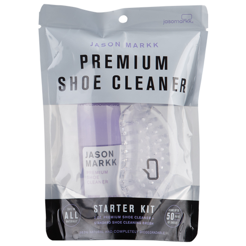 Keep your kicks in tip-top shape with the Mini Starter Kit from Jason Markk. Jason Mark\\\'s Premium Shoe Cleaner is a gentle, foaming solution that cleans and conditions while removing dirt and stains. It\\\'s safe to use on all colors and materials including leather, suede, nubuck, canvas, vinyl, nylon, and cotton mesh. It contains no harsh chemicals or abrasives, is 98.3% natural, and is completely biodegradable. Premium Shoe Cleaner with General Shoe Cleaning Brush. Safe on all materials. Cleans up to 50 pairs of shoes.