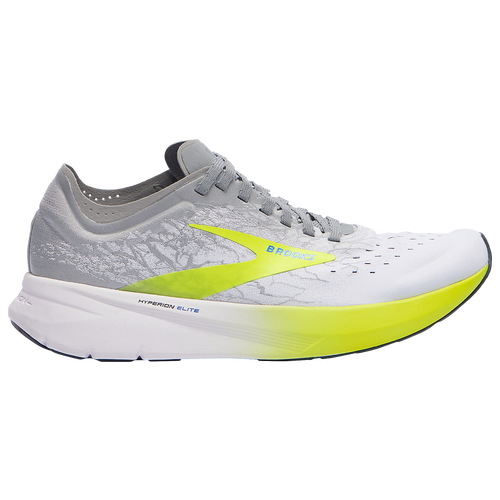 Take consistent cushioning along for the ride in the Brooks Hyperion Elite. Lighweight cushioning consists of a DNA ZERO midsole compound using Brooks\\\' lightest foam that adapts to your unique stride, delivering consistent cushion from the starting gun to the finish line. Carbon Fiber Propulsion Plate with a unique spine speeds your heel-to-toe transition. Shoe geometries keep your foot stable as you move, letting you to run efficiently. Minimal collar reduces weight while offering smooth comfort. Featherweight stretch woven upper offers a secure fit. Wt.: 6.9 oz. (men\\\'s size 9). Brooks Hyperion Elite - Men\\\'s Racing Flats - White / Nightlife / Grey, Size 10.0.