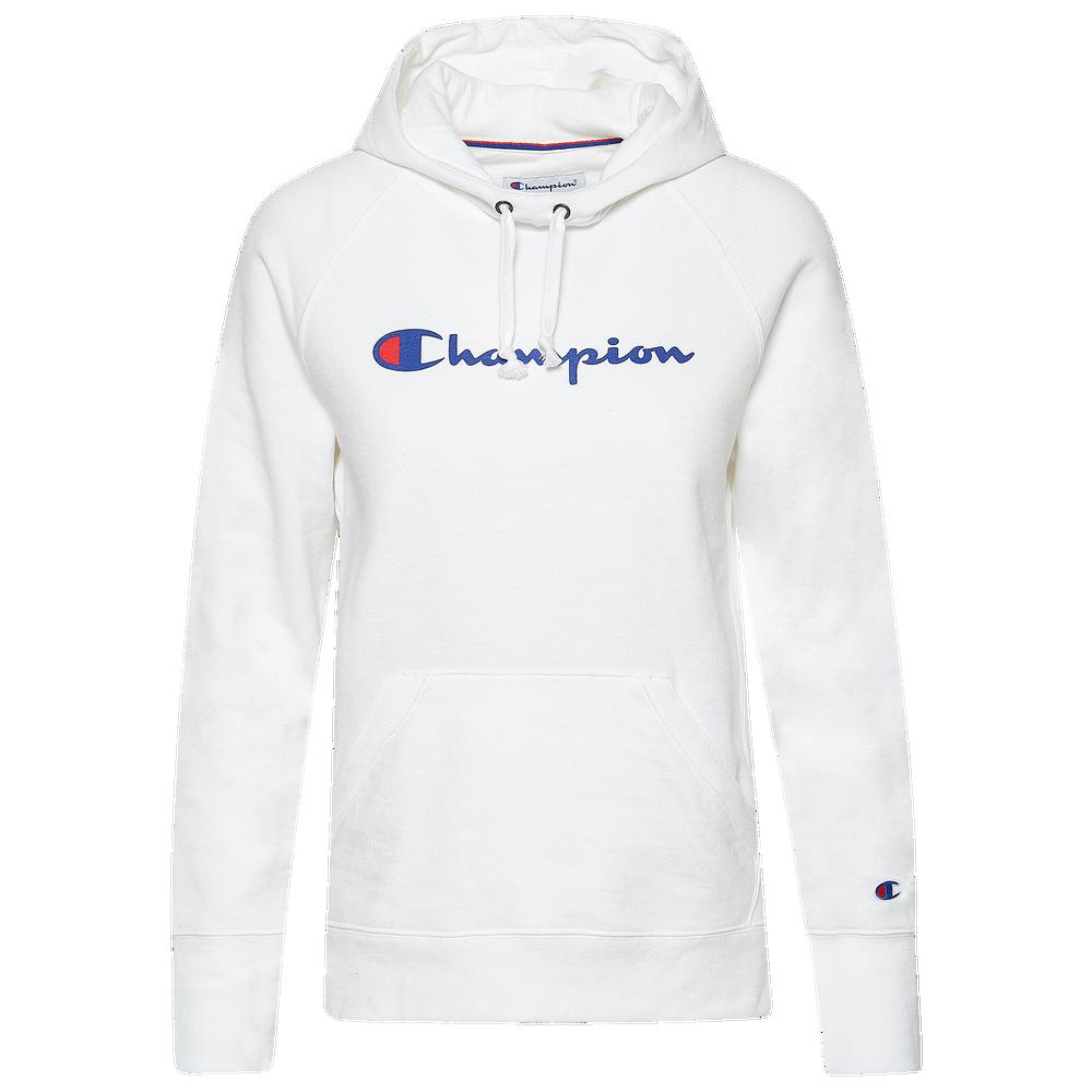 Champion PowerBlend Graphic Hoodie - Womens / White