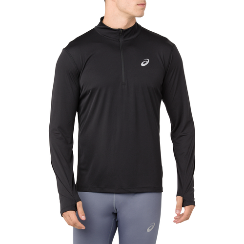 Layer up for your next outdoor workout and keep the weather off your mind and out of your way. Ideal for inside the gym, or anywhere in between, this piece is designed to be quick drying and breathable. Ripstop woven fabric adds toughness and breathability. Half-zip top gives you an adjustable fit. Soft, lightweight knit. Quick drying and breathable. Flat seams for zero chafing. Hexagon hem detail for styling. Reflective ASICS branding helps keep you visible. 100% polyester.