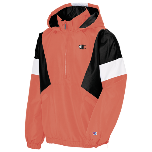 Don\\\'t let wind and rain keep you indoors. Champion\\\'s Stadium Anorak features water-resistant fabric and warm 2.2 oz. Polyfill insulation. Side zip pockets let you secure your belongings when you\\\'re on the go, and screen printed Champion script on the hood completes the outdoorsy look. Includes a zipper guard at the chin. Shows off Champion\\\'s classic C patch on the sleeve. Reverse entry side pockets offer easy storage. 100% polyester. Imported.