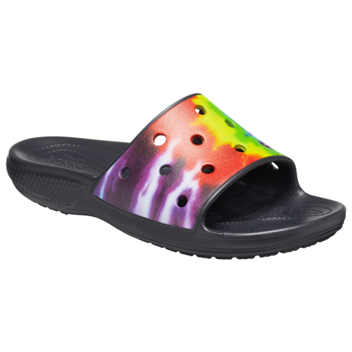 Make a groovy style statement without sacrificing comfort with the Crocs Tie-Dye Graphic Slide. Flaunting striking tie-dye graphics on the upper for a standout style, the Croslite foam footbeds for lasting comfort and flexible material, it has more to offer than just eye-catching style. The customizable upper with Jibbitz charms add distinctive style.