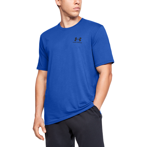 Add this must-have to your athletic wardrobe — the Sportstyle Left Chest T-Shirt from Under Armour. Charged Cotton dries quickly to keep you comfortable. Four-way stretch construction lets you move with ease. Anti-odor technology prevents the growth of odor-causing microbes. 60% cotton/40% polyester. Imported.
