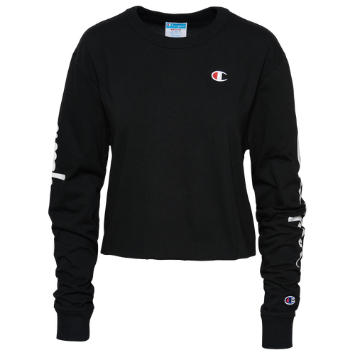 Champion Women's Cotton Long-sleeve Cropped T-shirt In Black