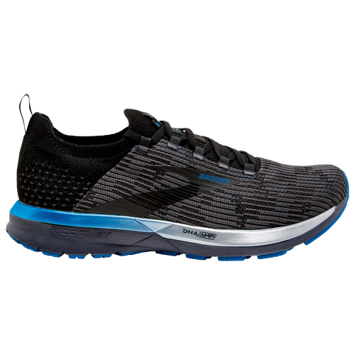 Take some hidden comfort along for the ride, and get high-energy cushioning in the Brooks Ricochet 2. Comfort gets stealthy inside the sleek simplicity of a flat-knit upper, and a hidden heel wrap and guided heel tab prevent irritation. Brooks Ricochet 2 features: BioMoGo DNA and DNA AMP cushioning work together for a light, responsive ride. Cushioning and traction combine to help you move from heel to toes quickly and retain energy. Flexible, arrow-point patterned outsole gives you the grip you need. Brooks Ricochet 2 - Men\\\'s Running Shoes - Black / Grey / Blue, Size 10.5.