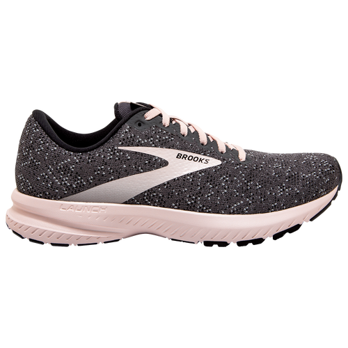 The Brooks Launch 7 Women\\\'s Shoe is constructed with a lightweight fit, fast cushioning, quick transitions. This shoe has a one-piece mesh upper and internal bootie are so light and breezy, they feel like they\\\'re not even there. And its Bio Mogo DNA midsole cushioning and rebounding rubber delivery comfort without adding extra weight - perfect for days when you\\\'re working on your speed. The Midfoot Transition Zone is shaped to go from heel to toe quickly. Weight: 8.1 oz. Brooks Launch 7 - Women\\\'s Running Shoes - Black / Pearl / Hushed Violet, Size 8.5.