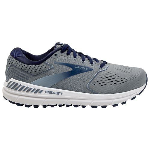 The Brooks Beast 20 is designed to offer stability in your knees to try to reduce strain and pressure on the most injury prone part of a runner's body. Go out and run with confidence. Engineered mesh upper with embroidered saddle and eyestay for a modern look. BioMogo DNA delivers a soft feel underfoot. GuideRails offer support with every step. Full-length Segmented Crash Pad absorbs shock and allows a smooth transition from heel to toe. Wt. 11.7 oz. . Brooks Beast 20 - Men\\\'s Running Shoes - Blue / Grey / Peacoat, Size 10.0.