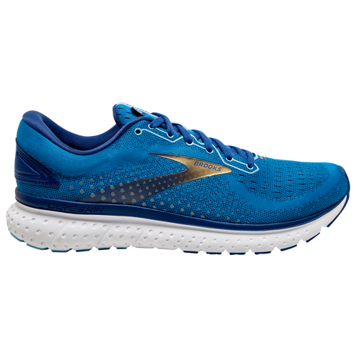 The Brooks Glycerin 18 is the perfect running shoe for those who don't over- or under-pronate very much. Neutral design means excellent cushioning, traction, and a lightweight feel. Engineered double-jacquard mesh upper for breathable comfort and a stretchy fit. Internal stretch bootie for a snug fit. OrthoLite sockliner for a comfortable feel underfoot. DNA Loft transition zone for a smooth transition from heel to toe and plush comfort. Durable outsole for traction and reliable grip. Wt. 10.2 oz. Brooks Glycerin 18 - Men\\\'s Running Shoes - Blue / Mazarine / Gold, Size 10.0.