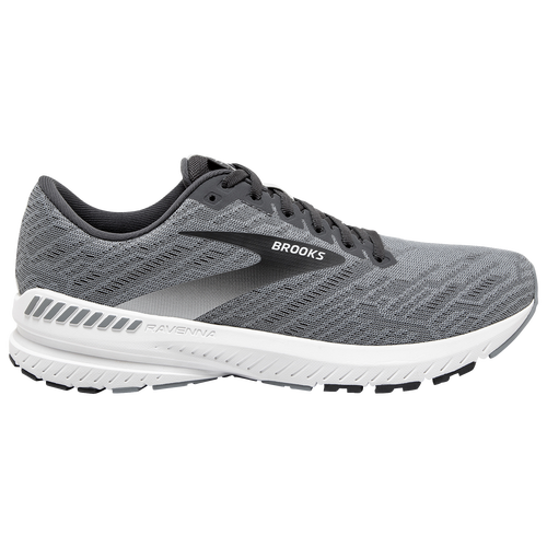 Gear up with cushioned, supportive comfort that's designed to reduce strain on your knees. The Brooks Ravenna 11 incorporates GuideRails for a supportive feel that shifts the focus from your feet to your knees. One-piece, single-layer mesh upper and internal bootie for breathability and lightweight comfort. BioMoGo DNA midsole cushioning feels responsive and soft to help absorb shock. GuideRails Holistic Support System helps reduce strain on your knees. Midfoot Transition Zone is shaped to go from heel to toe. Structure around the arch for a secure fit. Wt. 9.4 oz. Brooks Ravenna 11 - Men\\\'s Running Shoes - Grey / Ebony / White, Size 10.5.