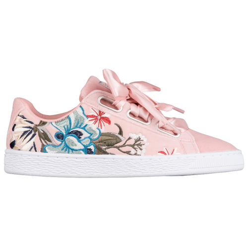 New Womens Puma Basket Heart Velvet Hyper Emb - Peach Beige