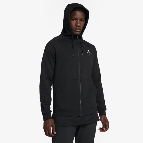 Comfortable, Athletic LookAchieve an athletic look while remaining comfortable with the Jordan Men\\\'s Jumpman Air Fleece Full-Zip Hoodie. Made from a French terry fleece material, this hoodie is guaranteed to provide that cozy, comfortable feel you\\\'re looking for on a brisk fall day or chilly evening without sacrificing your athletic style. This hoodie draws on the classic MJ uniform with diamond design lines that are paired with the undeniably powerful and iconic Jumpman Air logo.Unbeatable WarmthAside from its impressive style, you\\\'ll also enjoy superior warmth with the Jordan Men\\\'s Jumpman Air Fleece Full-Zip Hoodie\\\'s long-sleeve design and high collar. The sweatshirt also features side pockets to keep your hands toasty as well as a drawcord hood that provides customized and adjustable protection from the wind and cold. Whether you\\\'re hitting the court outdoors or simply heading out with friends, this hoodie and its full-zip front will keep you sufficiently warm. Grab your Jordan Men\\\'s Jumpman Air Fleece Full-Zip Hoodie today and watch it become your cold-weather wardrobe staple.Jordan Men\\\'s Jumpman Air Fleece Full-Zip Hoodie features: French terry fleece provides a soft, comfortable feel. Long-sleeve design with high collar guarantees superior warmth. Diamond design lines for a classic MJ uniform feel. Jumpman Air logo offers an undeniably athletic appearance. Drawcord hood so you can control your look and coverage. 80% cotton/20% polyester. Imported.