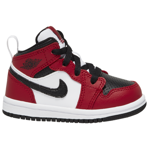 Retro-Inspired Style Outfit your child in the Jordan Toddler Boys\\\' AJ 1 Mid sneaker featuring a mid-top design inspired by the original AJ1 from 1985. It has many of the same features as that iconic first shoe, such as a leather-and-synthetic upper that\\\'s durable and stylish. The classic appearance of the Jordan AJ 1 Mid coordinates well with kids\\\' casual clothes. With multiple colorways available, you\\\'re sure to find one both you and your child will love. The classic Nike Swoosh appears on the side for an upscale touch. A High-Performance Mid-Top SneakerThe Jordan AJ 1 Mid has perforations in the upper to keep even the most active kid\\\'s feet cool and dry. This iconic shoe is also equipped with Air Sole technology for shock absorption and plenty of cushiony bounce. The plush midsole makes each step more comfortable, while the patterned rubber outsole of the Jordan AJ 1 Mid delivers great traction for running and jumping. Jordan Toddler Boys\\\' AJ 1 Mid features: Leather-and-synthetic upper for classic good looks.Perforations in upper provide airflow for breathability.Air Sole® technology absorbs shock. Cushioned midsole for all-day comfort. Patterned rubber outsole provides excellent traction.
