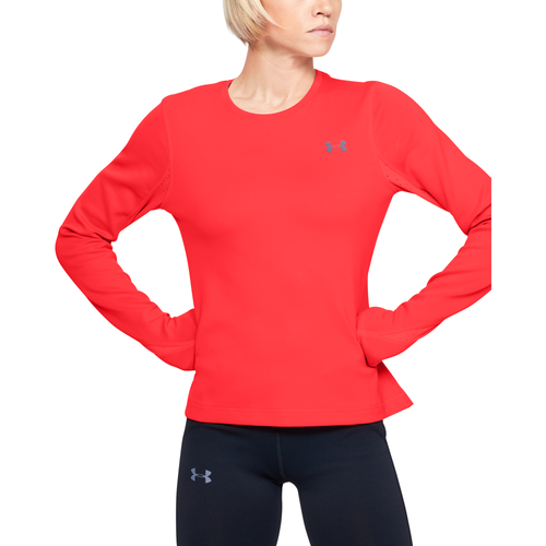 Keep up with your training regimen no matter the weather. The Under Armour ColdGear Qualifier Long-Sleeve Top is designed to keep you warm and dry. Ultra-soft knit fabric feels smooth and has a soft interior. ArmourVent® mesh panels for breathability and comfort. Ergonomic flatlock seams feel smooth. Dropped, shaped hem for extra coverage. Built-in interior thumbholes offer coverage and warmth. Reflective details help make you more visible in low light. 85% polyester/15% elastane. Imported.