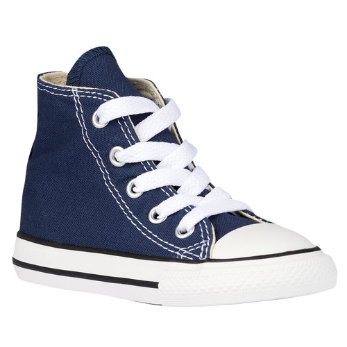 Stay on top of your style game in these boys\\\' Converse All Star Hi sneakers. Modeled after Chuck Taylor\\\'s infamous shoes these high tops provide the iconic look with modern comfort. Canvas upper completes the vintage look. Rubber toe-cap provides durability. Rubber outsole enhances traction and durability.