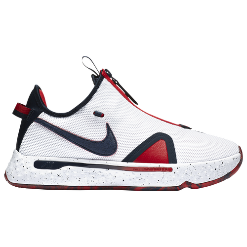 "We suggest ordering 1 size biggerScore and defend like Paul George with the Nike PG 4. These kicks are designed for those who give every play their all. Dual-mesh, semi-transparent zippered overlay fastens over the laces for a more supportive fit and adjustable airflow. Low-cut collar, full bootie construction, and internal webbing system for comfort and a snug fit. 6mm sockliner adds lightweight cushioning. Lightweight Nike Air footbed adds comfort and responsiveness underfoot. Circular traction pattern ensures multidirectional traction and durability. ""Trece\\\"