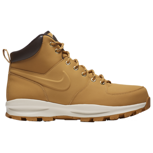 Booting UpThe Nike Manoa is a boot that takes Nike from the court to the trail, and it does so without missing a step. With its unmistakable styling and design language, it\\\'s a boot that feels at home in any sneakerhead\\\'s collection, and perfect for going hiking. So when the going gets rough, the rough strap on their Manoas and get to work, unafraid of the weather or the terrain ahead of them. Built to EndureStarting from the premium leather and synthetic leather upper, the comfort is unmistakable. They\\\'re also very easy to clean, so you\\\'ll be able to keep them looking good even after an adventure on the muddiest trails. The soft foam midsole provides you with that unique Nike support, while the strong rubber sole\\\'s heavy-duty traction pattern keeps you on your feet on treacherous terrain and in inclement weather like rain or snow. Nike Manoa Features:Leather and synthetic leather uppers for comfort and ease of cleaning.Soft Nike foam midsole for cushioning and support.Strong rubber outsole for increased durability.Unique outsole traction pattern keeps grip on all surfaces and at all precipitation levels.