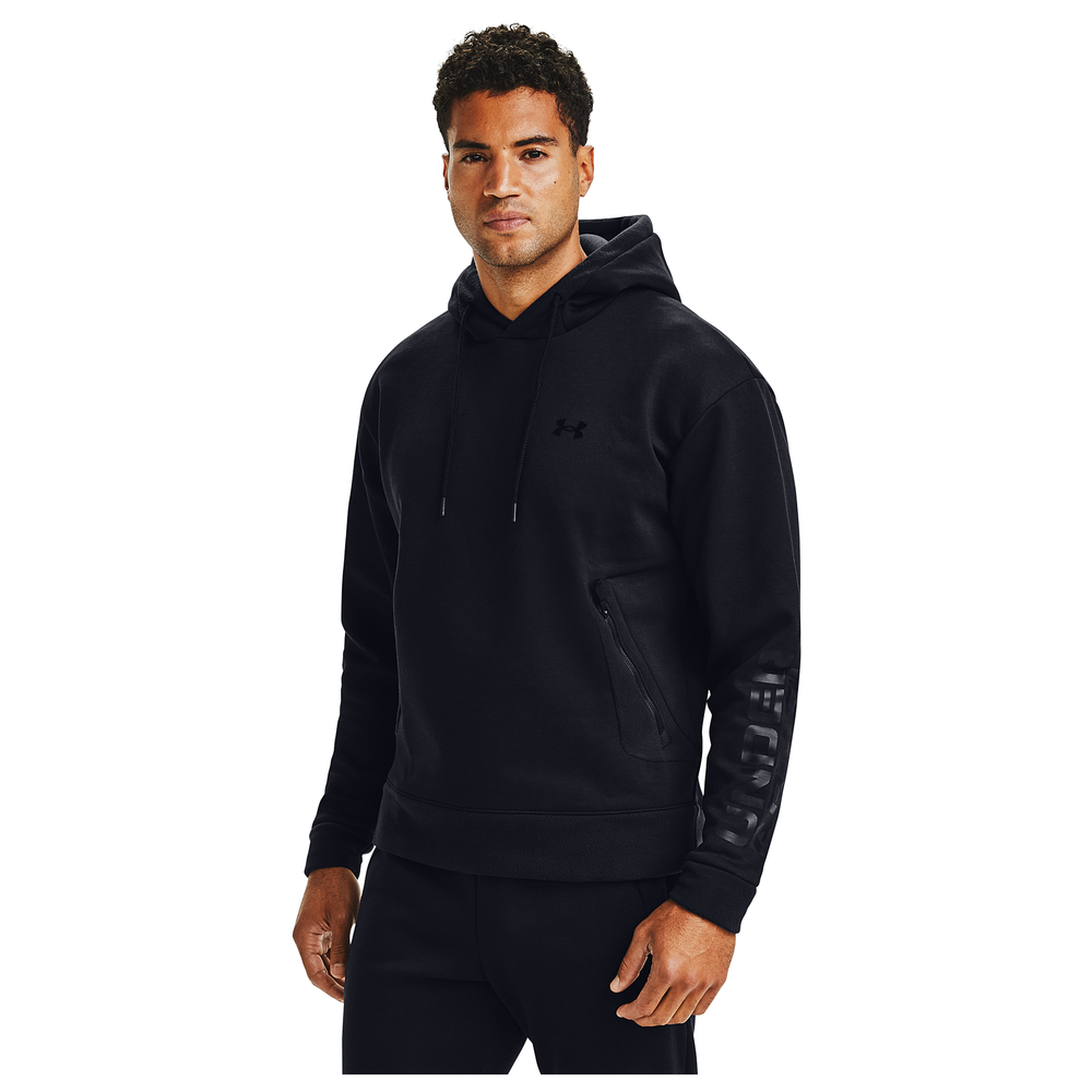 Under Armour Recover Fleece Pullover Graphic Hoodie - Mens / Black/Black | Pullover