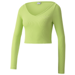 PUMA Classics Rib Long Sleeve Crop Top  - Women's
