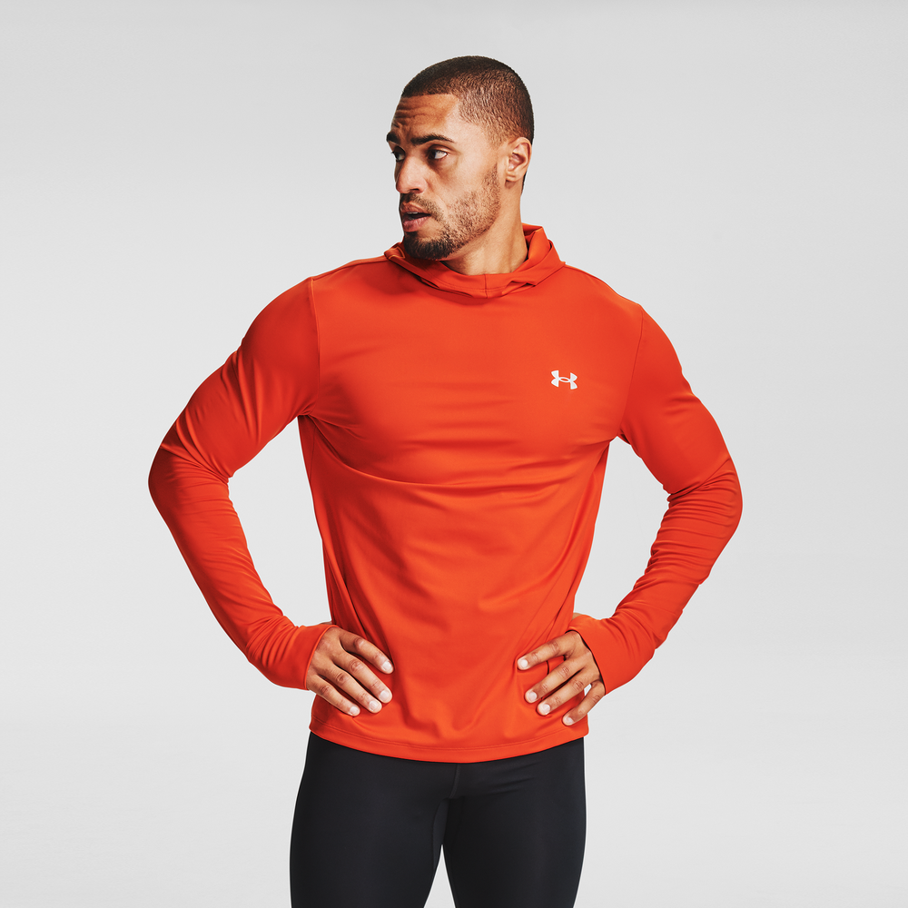 Under Armour Qualifier Ignight Cold-Gear Hoodie - Mens / Rich Orange/Lunar Orange/Reflective