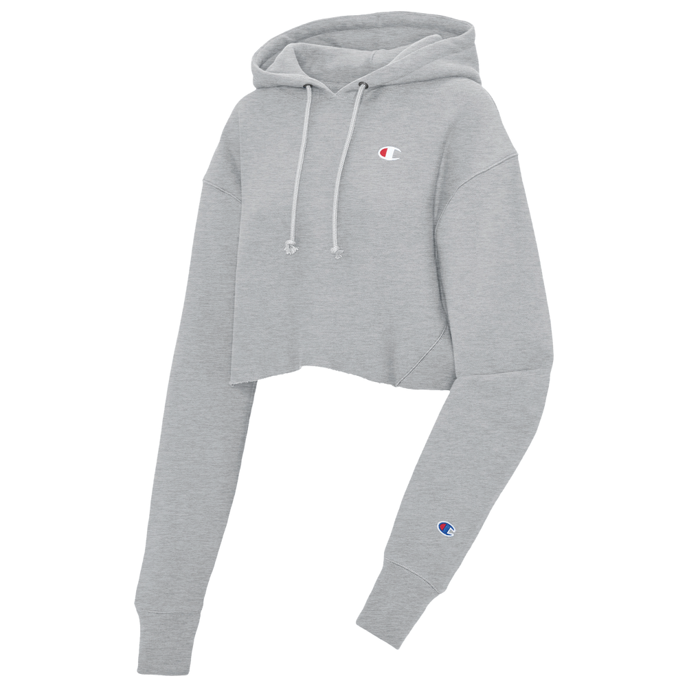 Champion Reverse Weave Cropped Cut Off Hoodie - Womens / Oxford Grey