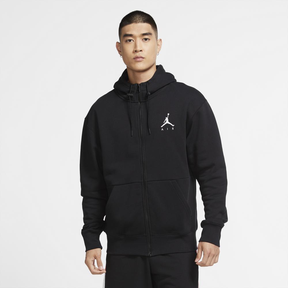 Jordan Jumpman Fleece Full-Zip Hoodie - Mens / Black/Black/White