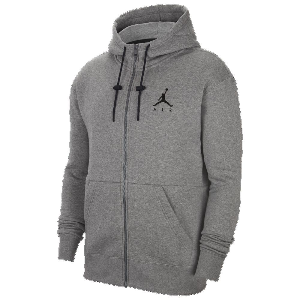 Jordan Jumpman Fleece Full-Zip Hoodie - Mens / Carbon Heather/Black