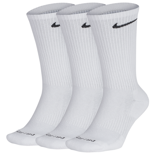 Power through your workout with the Nike Everyday Plus Cushion Crew Training Socks (3 Pair). Dri-FIT technology helps you stay dry and comfortable. Breathable mesh at the top of the foot for enhanced ventilation. Arch band contours around the foot for a locked in fit. Crew silhouette provides comfortable coverage around the ankle and calf. 69% cotton/29% polyester/2% spandex. Imported. Nike 3 Pack Dri-FIT Plus Crew Socks - Men\\\'s - White / Black, Size L.