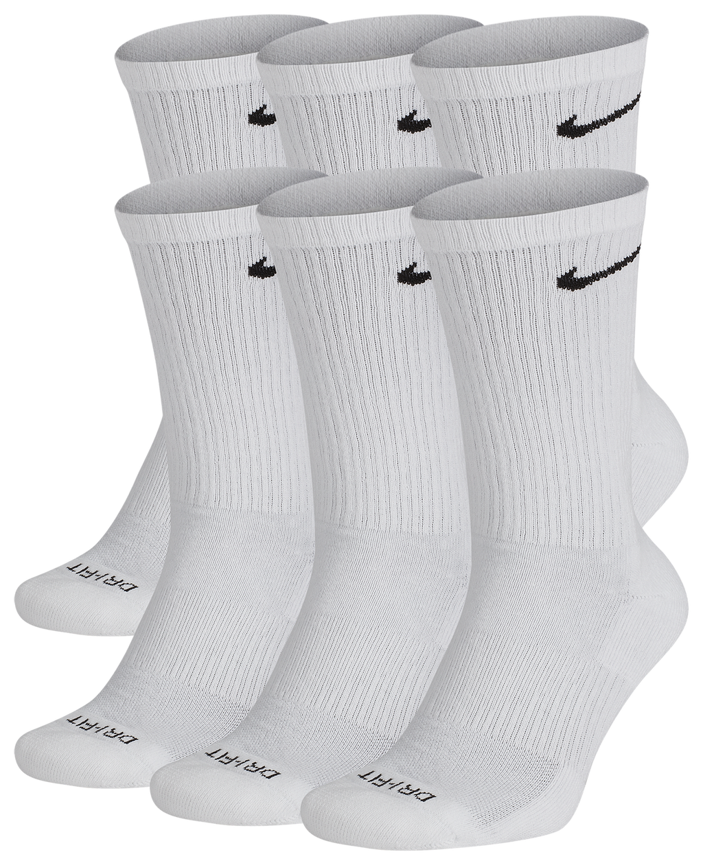 Nike 6 Pack Dri Fit Plus Crew Socks by Eastbay