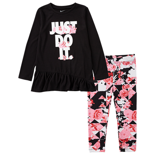 The Nike Tokyo Floral Tunic & Leggings Set is stretchy and comfortable. The tunic is flowy and allows for easy movement. The stretchy leggings make it possible for your toddlers to run around freely and comfortably. All-day comfort and playtime come easy with this adorable outfit.Nike Tokyo Floral Tunic & Leggings Set features: Soft jersey fabric is lightweight and comfortable. Crew neck with long sleeves provides warmth. Leggings made of stretchy jersey fabric ensure easy movement. Features all-over-floral print. Elastic waistband ensures a snug fit. Top: 65% polyester/35% viscose; Leggings: 95% polyester/5% elastane. Imported. Nike Tokyo Floral Tunic & Leggings Set - Girls\\\' Toddler - Pink / Black, Size 2T.