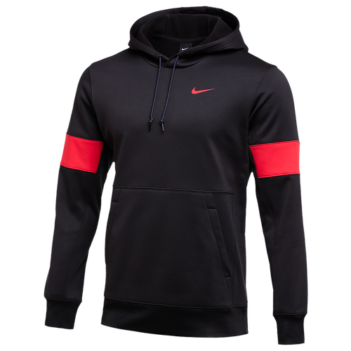 Strategic warmthThis Nike Therma Pullover Training Hoodie with Therma-FIT fleece technology not only keeps you warm on winter training or soccer game days but can be used for color blocking, a technique coaches love! Consider this hoodie your new best friend and secret weapon for winning that soccer match. The Cold Can't Stop YouThis Nike Therma Pullover Training Hoodie provides the ultimate comfort and warmth experience for the dedicated player who will be out on the field through sun rain, or snow. The inner fleece provides a soft feel and couples with the sweat-wicking polyester material, this hoodie has it all. Nike knows the cold can't stop you from doing what you love and just makes it easier to get out there on the field even on the coldest days. Nike Therma Pullover Training Hoodie features: Can be used by coaches for color blocking. Therma-FIT fleece technology. Seasonal grahpic. 100% polyester. Imported. Nike Team Authentic Therma Pullover Hoodie - Men\\\'s - Black / University Red / University Red, Size S.