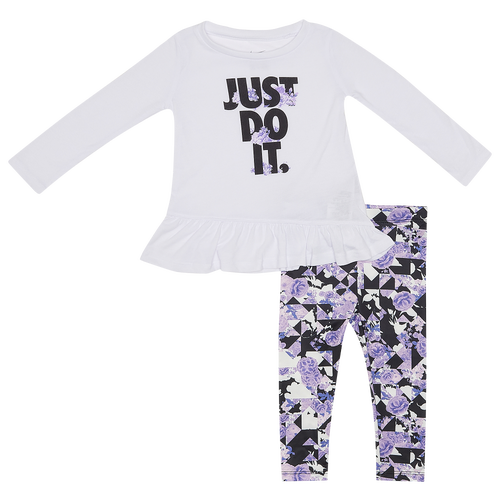 Expect cuteness overload with the Nike Tokyo Floral Tunic & Leggings Set. Flowy and lightweight, it gives your little one the comfort they need. The floral pattern gives off the peaceful vibes, and the stretchy material makes it easy for your little girl to move around in.Nike Tokyo Floral Tunic & Leggings Set features: Light, flowy jersey fabric top ensures easy all-day wear. Crew neck, with long sleeves, provides warmth. Features the Just Do It logo, and a peplum hem. Stretchy jersey fabric leggings, with an elastic waistband, ensures a snug fit. Top: 65% polyester/35% viscose; Leggings: 95% polyester/5% elastane. Imported. Nike Tokyo Floral Tunic & Leggings Set - Girls\\\' Infant - Midnight Navy / White, Size 24MO.