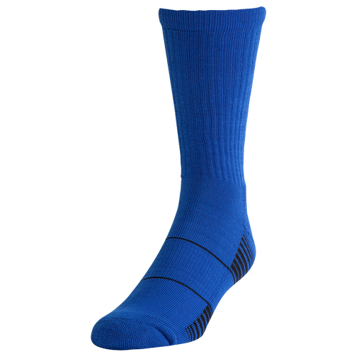 Get the comfort and cushioning you need with the Under Armour Team Crew Football Socks. Embedded arch support works to reduce food fatigue while the sock features Strategic Cushioning for protection and comfort in high impact areas of your foot. Embedded arch support works hard to reduce any foot fatigue. Strategic Cushion protects areas of high-impact on the foot and keeps you comfortable. Moisture Transport System wicks sweat from your body, keeping you cool and dry. ArmourBlock anti-odor tech blocks odor, ensuring that you stay fresh all game long. 84% polyester/14% nylon/2% spandex. Imported. Under Armour Team Crew Socks - Royal / White, Size XL.