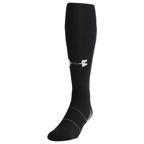 You need a lot out of your sock on the gridiron. Your sock needs to give you the perfect fit and premium comfort, but it also can\\\'t bunch up and needs to neutralize odor. Get everything you need with the Under Armour Team Over The Calf Socks—built specifically for the game and in the team colors you need. ArmourBlock tech blocks odor before you even start perspiring. Signature Moisture Transport System wicks sweat, keeping you dry and comfortable. Flex Zone keeps the sock from bunching. Contoured Y heel adds cushioning, comfort, and a perfect fit. Embedded arch support reduces fatigue and boosts circulation. 84% polyester/14% nylon/2% spandex. Imported. . Under Armour Team Over The Calf Socks - Black, Size XL.