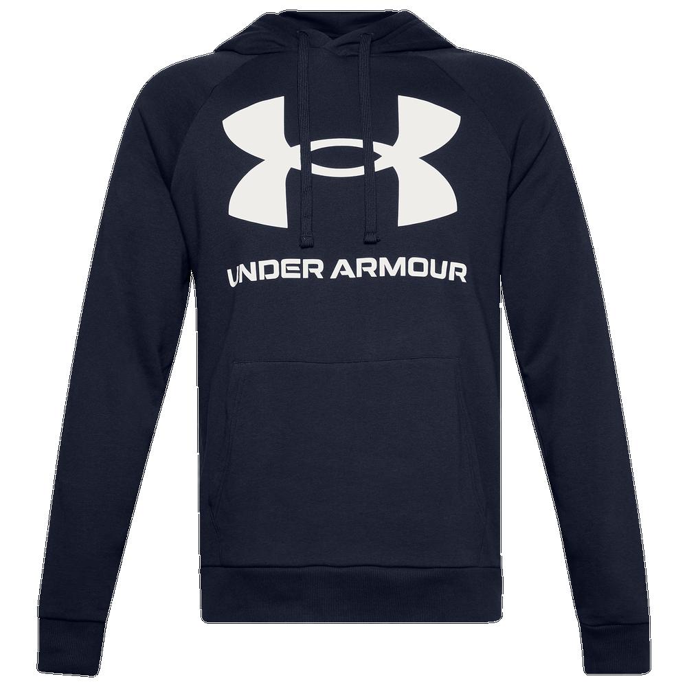 Under Armour Rival Fleece Big Logo Hoodie - Mens / Midnight Navy/Onyx White