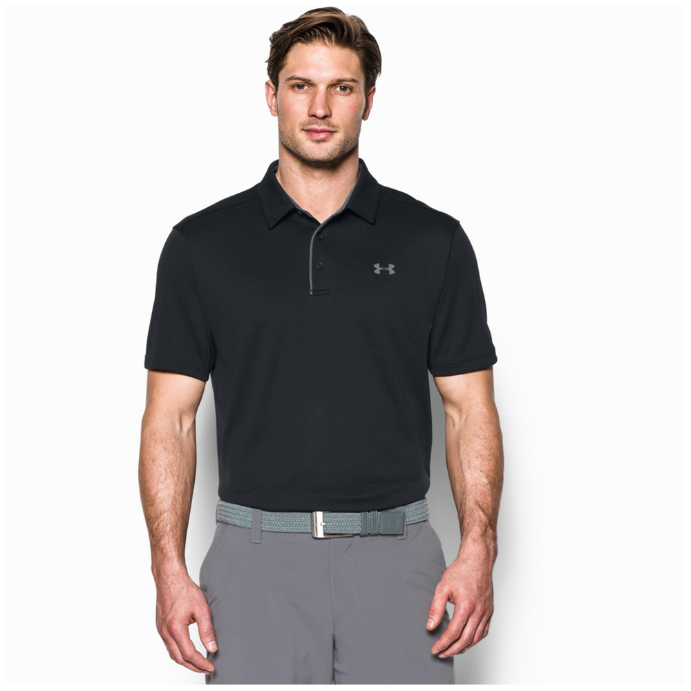 Under Armour Tech Golf Polo - Mens / Black/Graphite/Graphite
